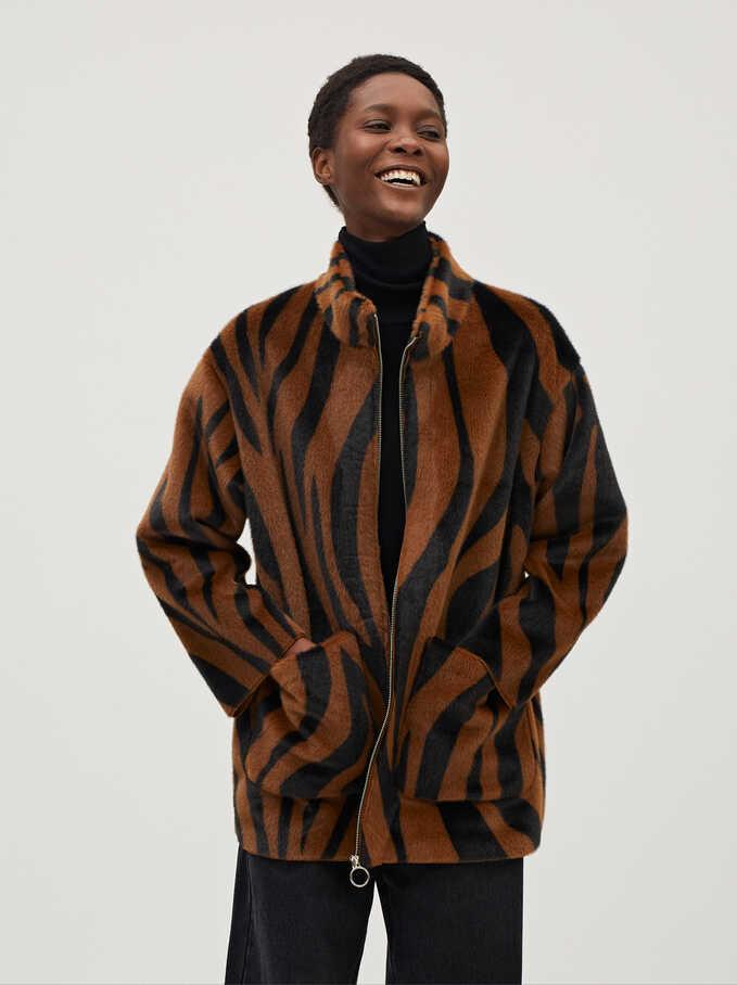 Fake Fur Coat With Animal Print, Brown, hi-res