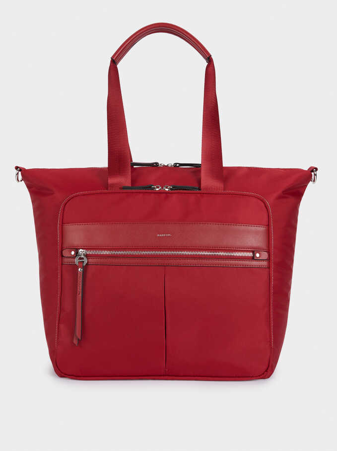Nylon Weekend Bag, Red, hi-res