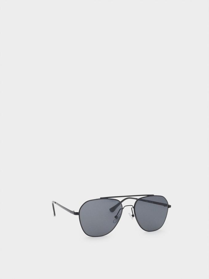 Óculos De Sol De Aviador, Preto, hi-res
