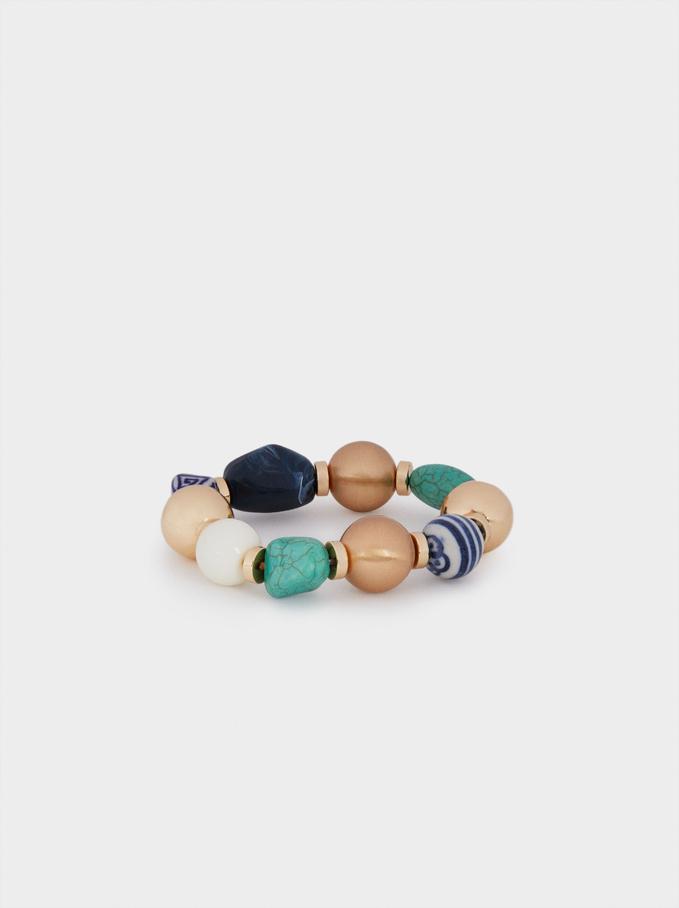 Pulseira Elástica Com Pedras, Azul, hi-res