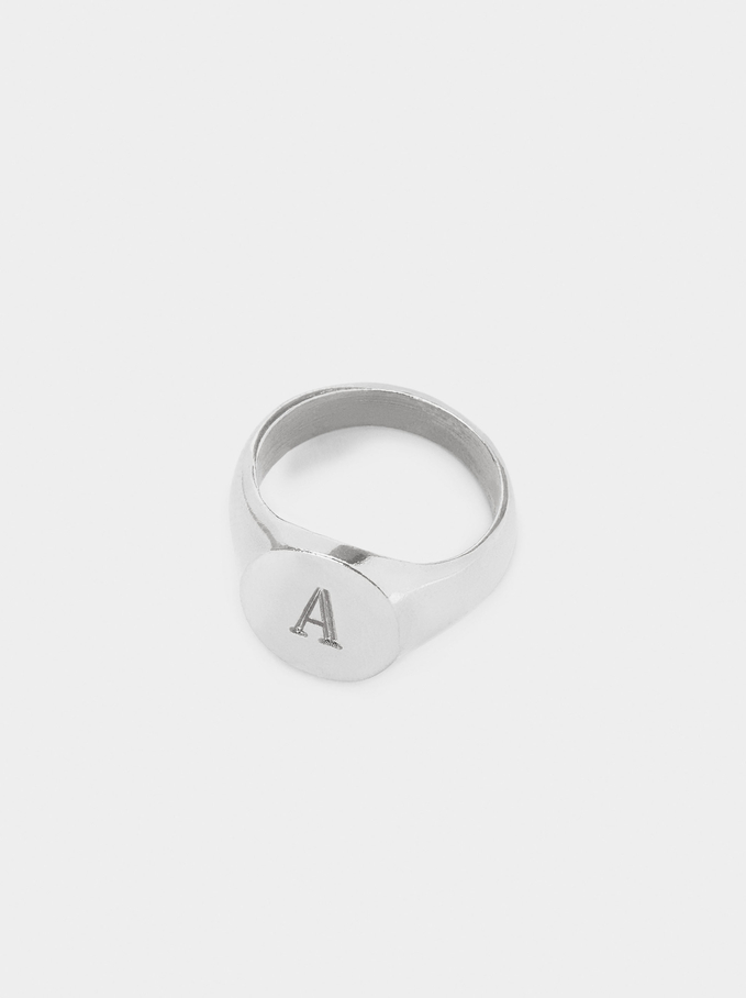 Pinky Finger Signet Ring Size M, Silver, hi-res