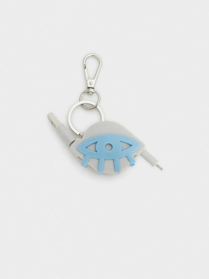 Eye Key Ring With Usb Cable, Grey, hi-res