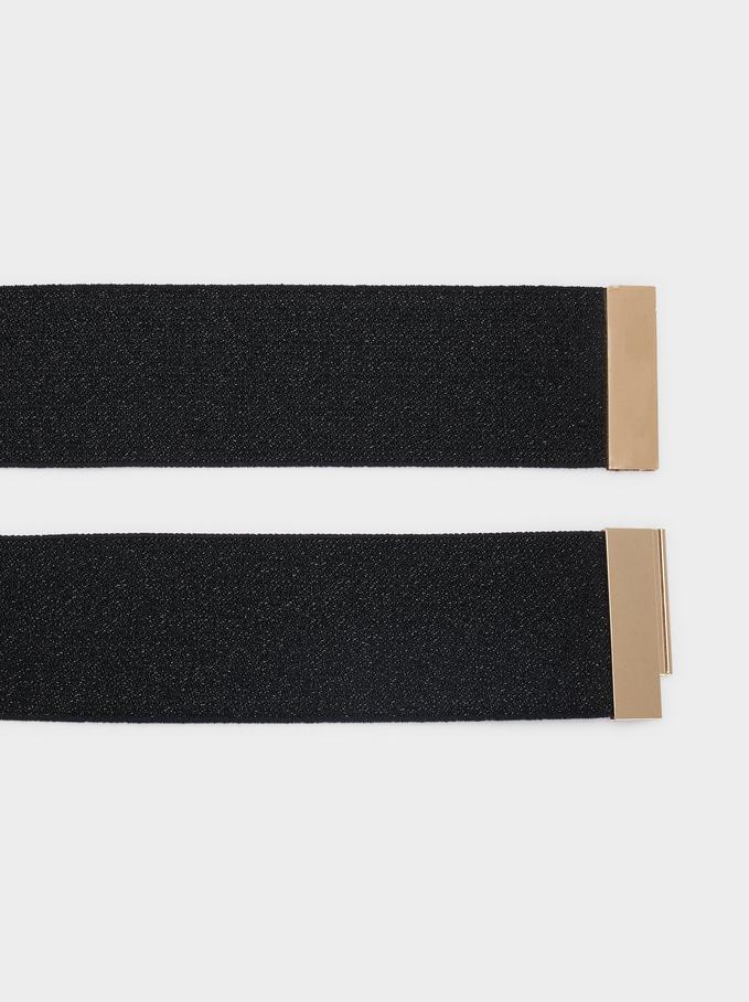 Stretch Belt With Golden Buckle, Black, hi-res