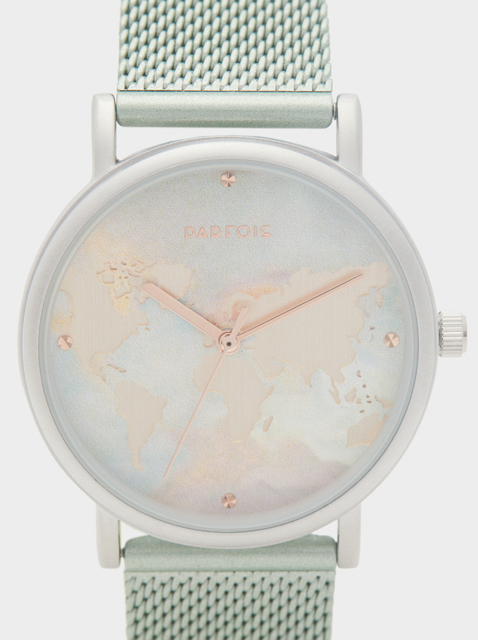 Watch With Metal Mesh Strap And World Map Face, Green, hi-res