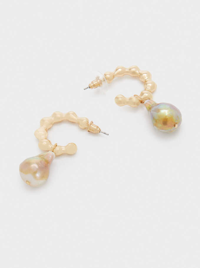 Hoop Earrings With Faux Pearl, White, hi-res