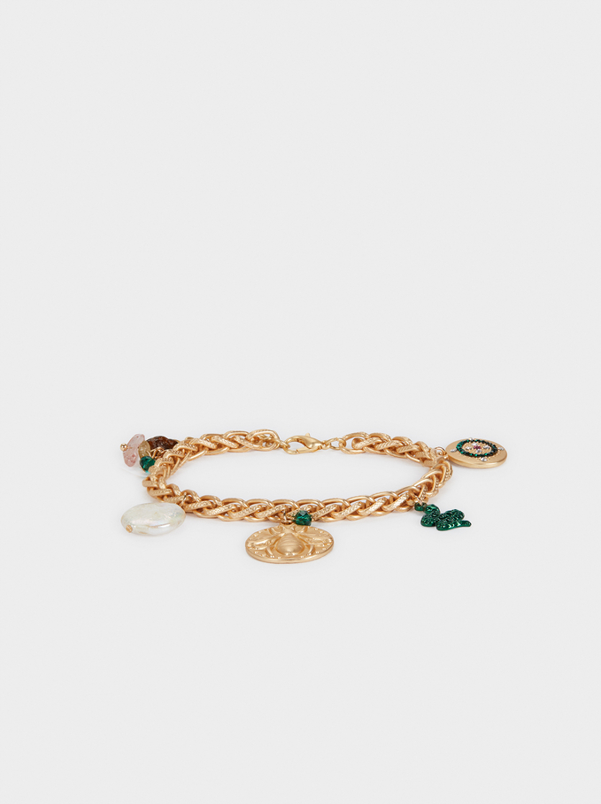 Gold Bracelet With Stones, Multicolor, hi-res