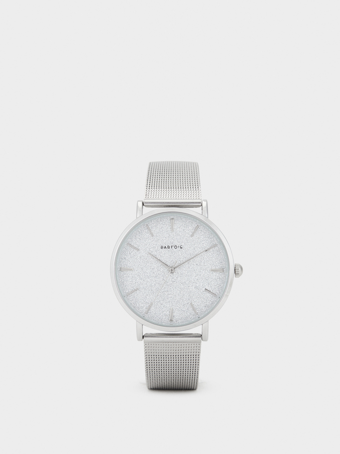 Watch With Glittery Face, Silver, hi-res