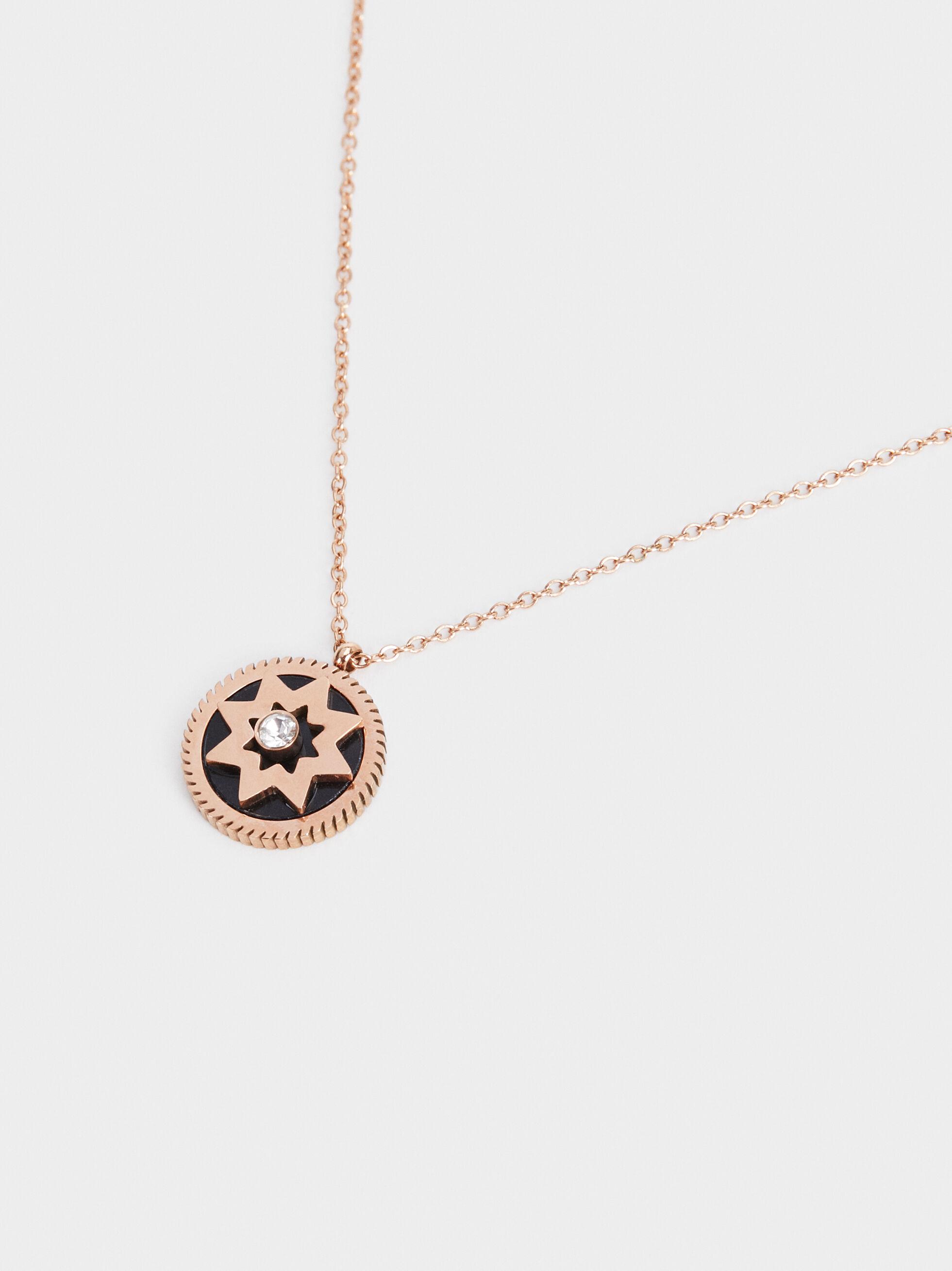 Short Steel Necklace With Star, Orange, hi-res