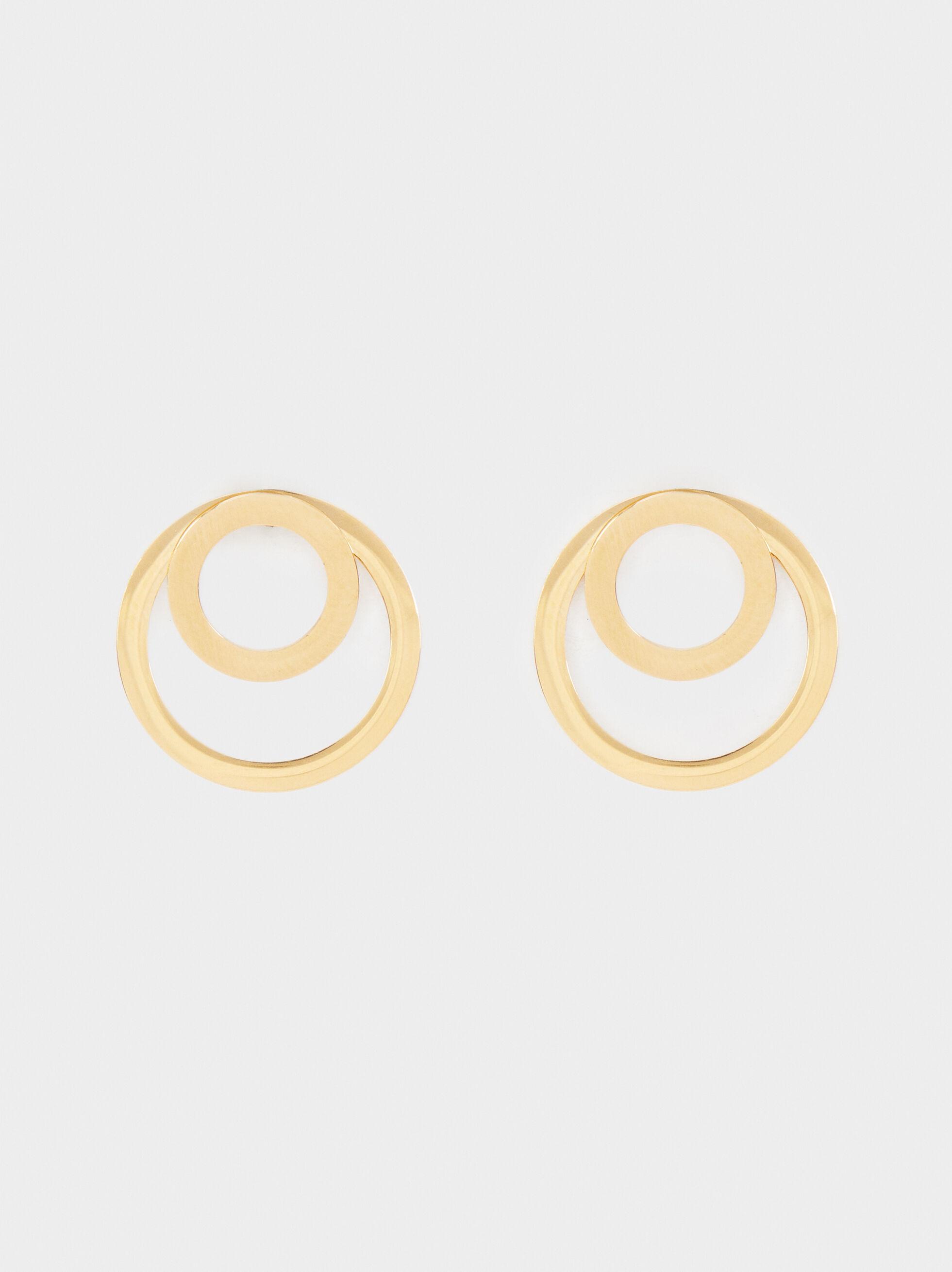 Short Gold Stainless Steel Earrings, , hi-res