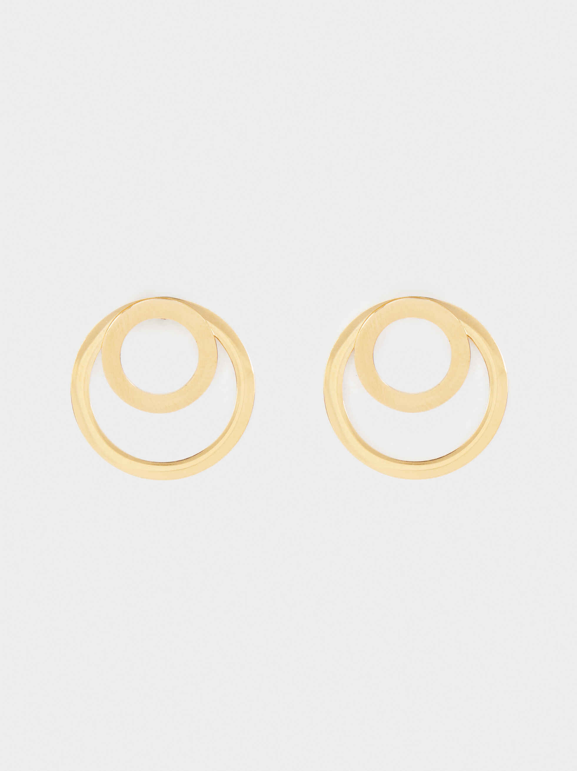 Short Gold Stainless Steel Earrings, , hi-res