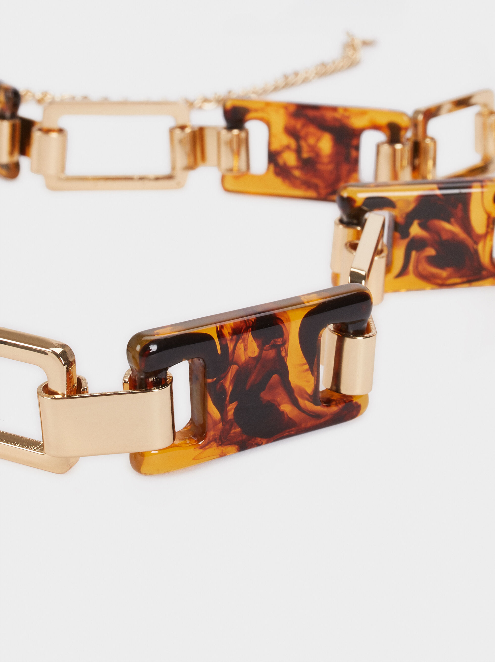 Belt With Tortoiseshell Detail, Golden, hi-res