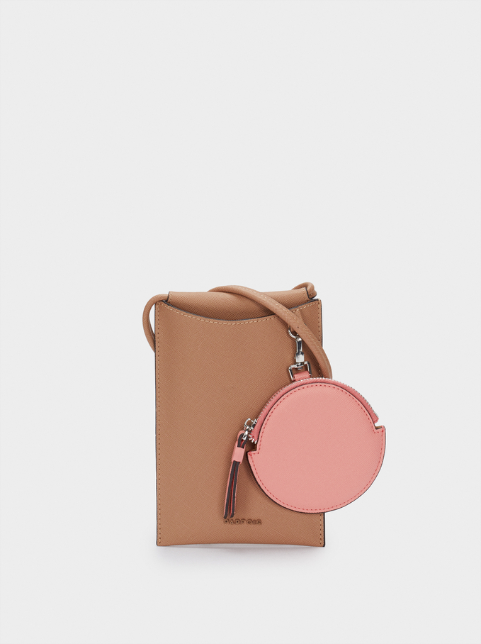 Phone Case With Coin Purse, Brown, hi-res