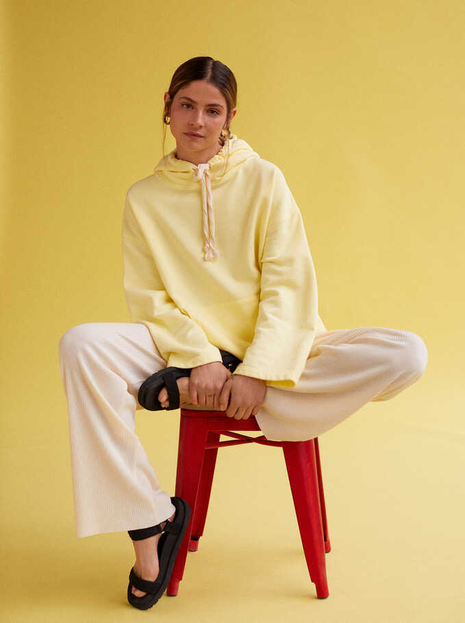 Knit Hoodie, Yellow, hi-res