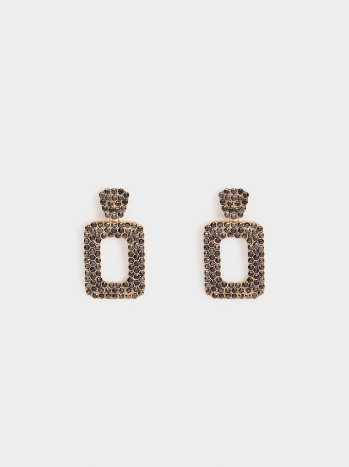 Long Earrings With Rhinestones, Multicolor, hi-res