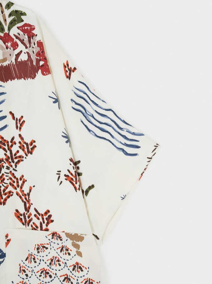 Multicoloured Printed Oversize Kimono, Ecru, hi-res
