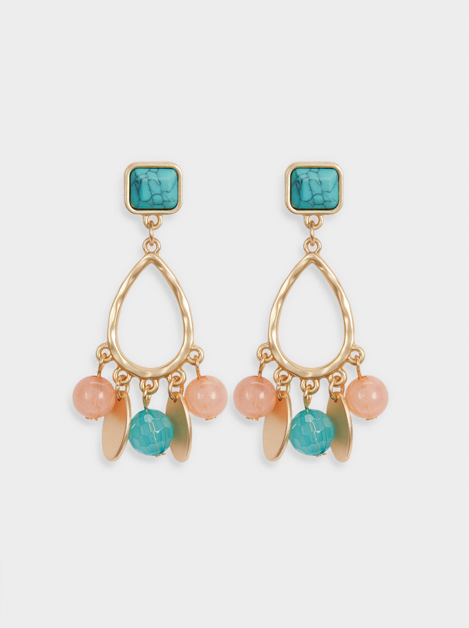 Earrings With Stones, Multicolor, hi-res