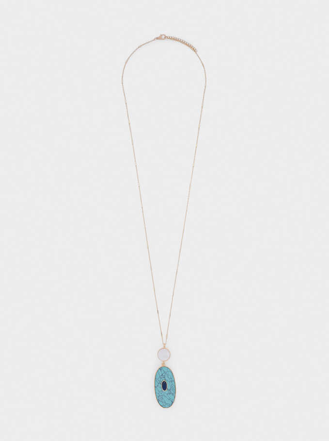 Long Necklace With Stone, Blue, hi-res