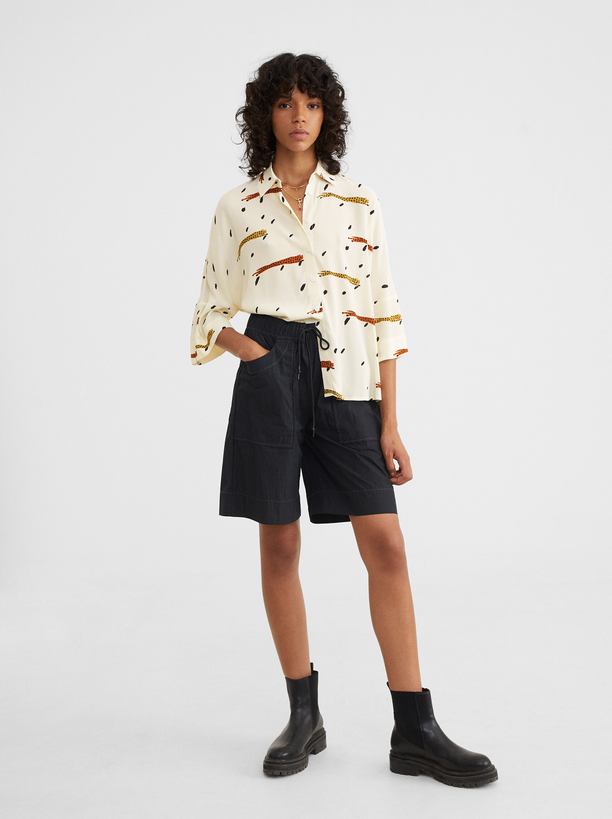 Printed Oversized Shirt, , hi-res