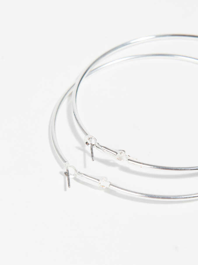 Basic Large Hoop-Earrings, Silver, hi-res
