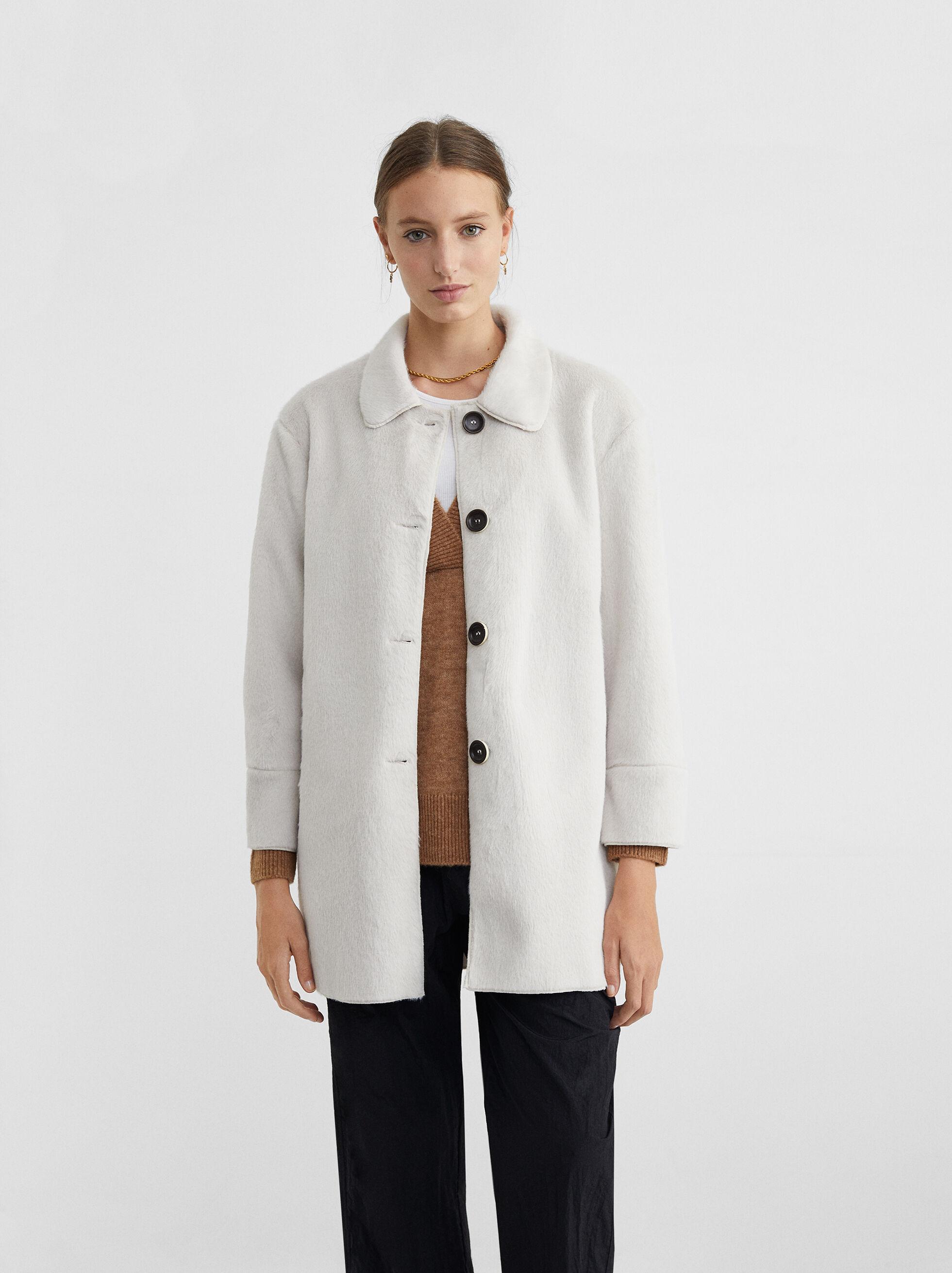 Button-Up Fake Fur Coat, Ecru, hi-res