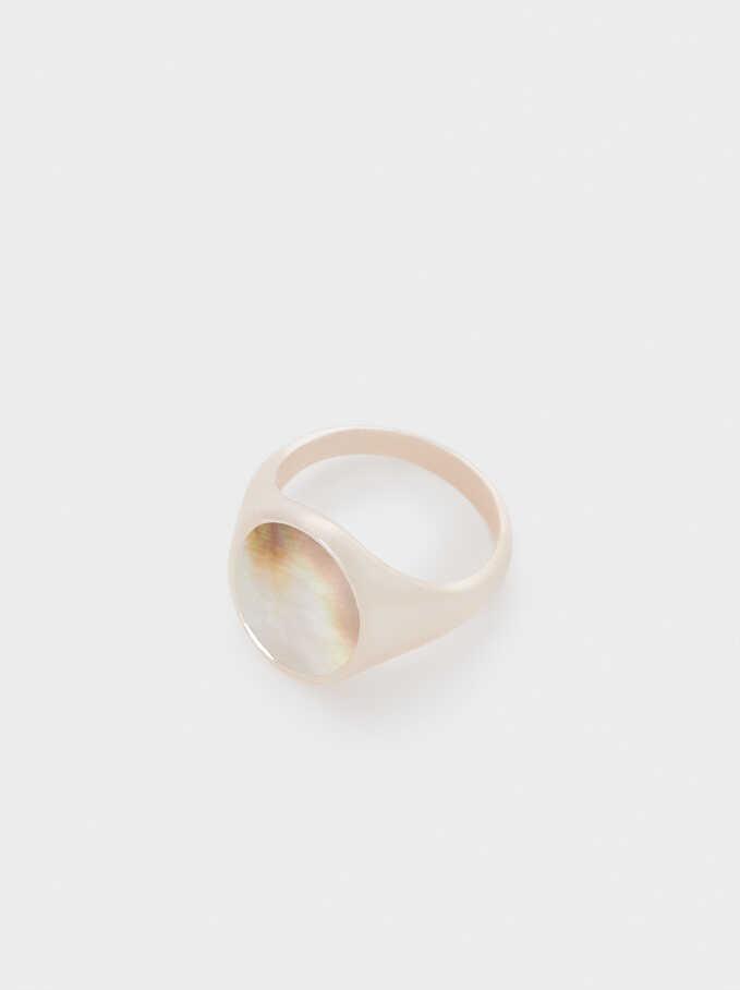 Seashell Signet Ring , Orange, hi-res