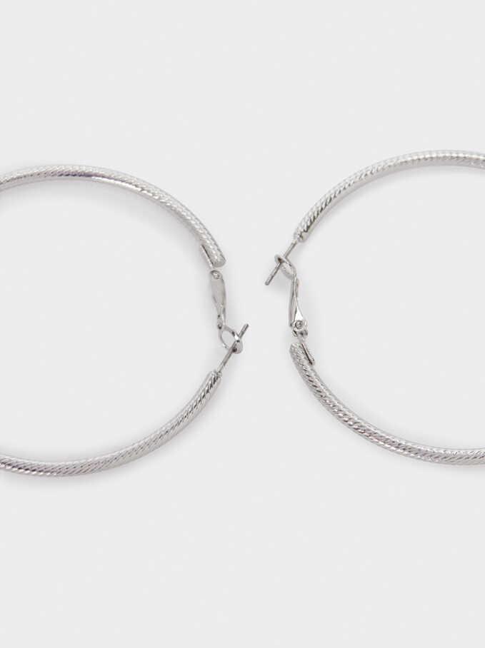 Large Silver Hoop Earrings, Silver, hi-res