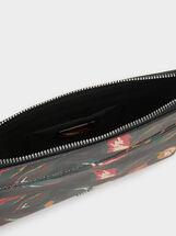 Floral Print Crossbody Bag, Black, hi-res