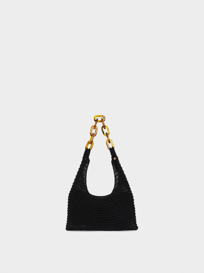 Shoulder Bag With Beads And Chain Strap, Black, hi-res