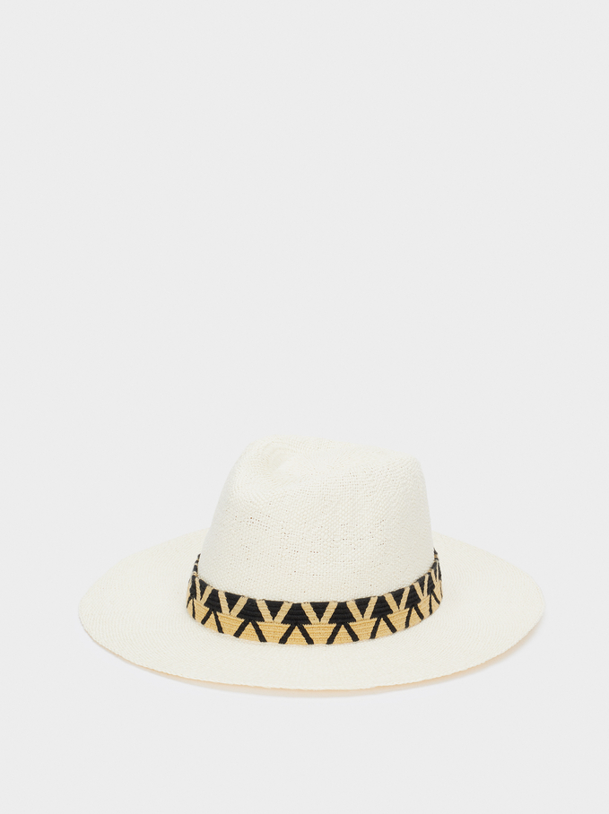 Textured Straw Hat With Contrast Band, Ecru, hi-res