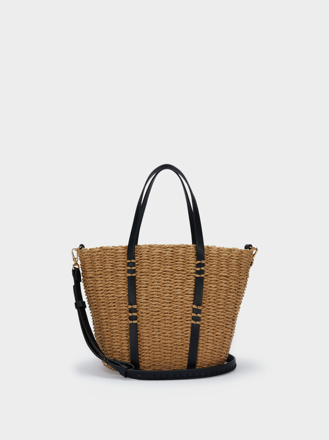 Textured Raffia Shopper Bag With Pendants, Beige, hi-res