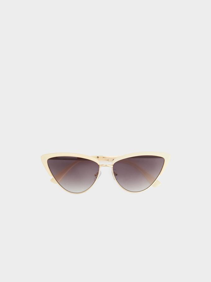 Cateye Sunglasses, White, hi-res