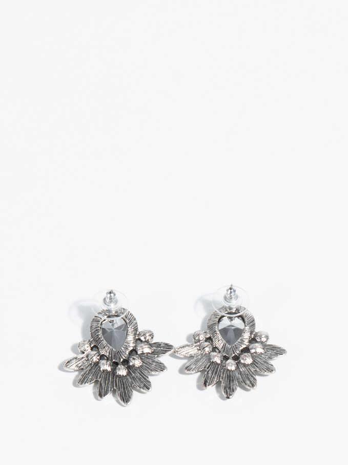 Silver Basics Short Earrings, Silver, hi-res