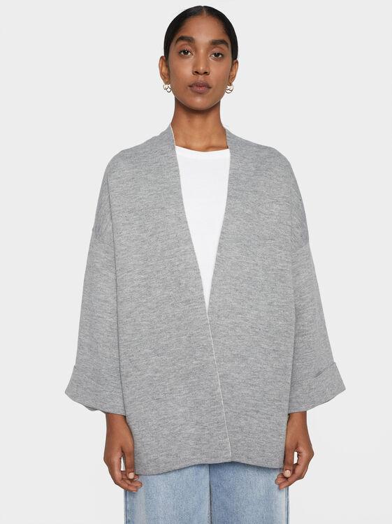 Knit Kimono, Grey, hi-res