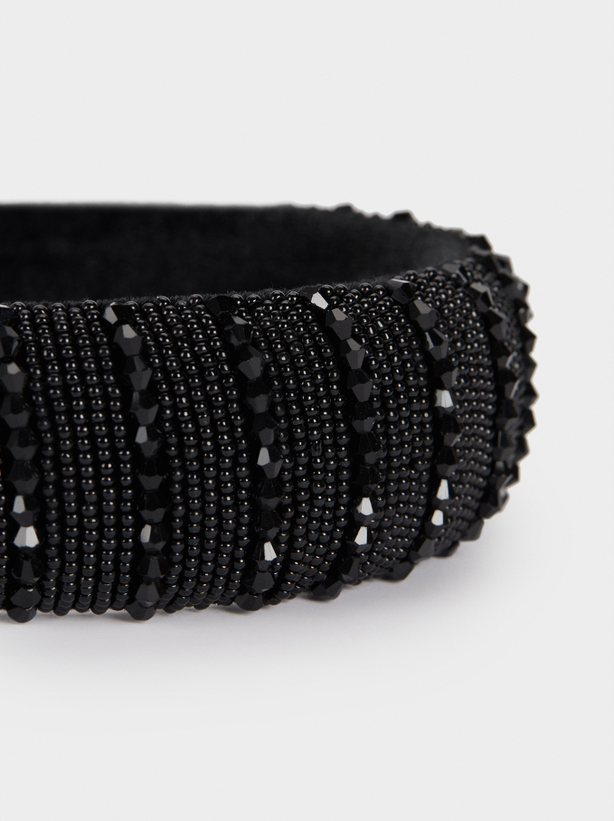 Headband With Crystals And Beads, Black, hi-res