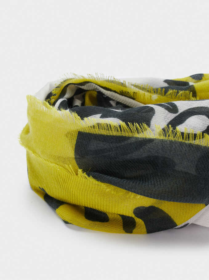 Animal Print Scarf, Yellow, hi-res