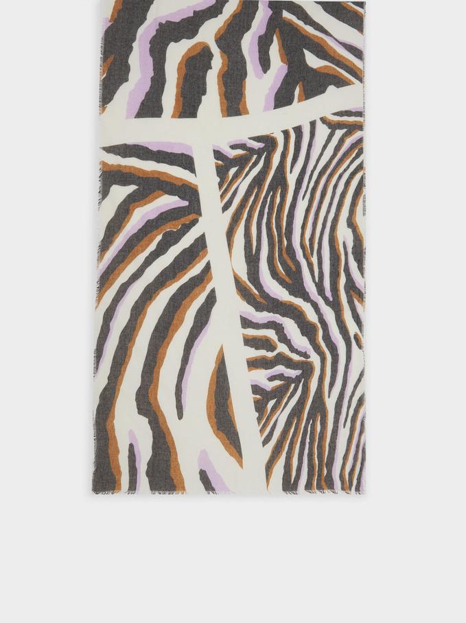 Pañuelo Estampado Fabricado Con Materiales Reciclados, Violeta, hi-res