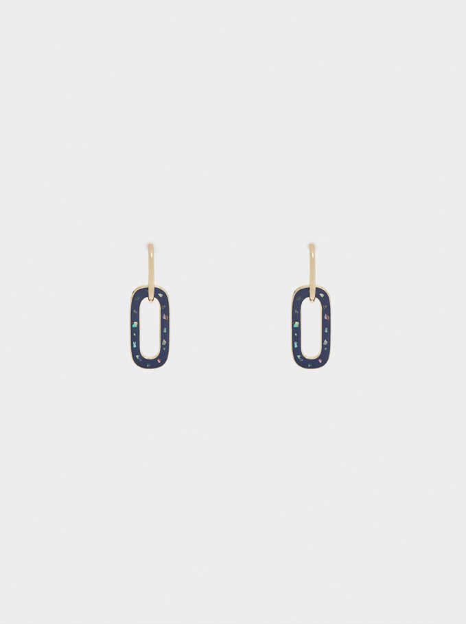 Hoop Earrings With Enamel Pendants, Navy, hi-res