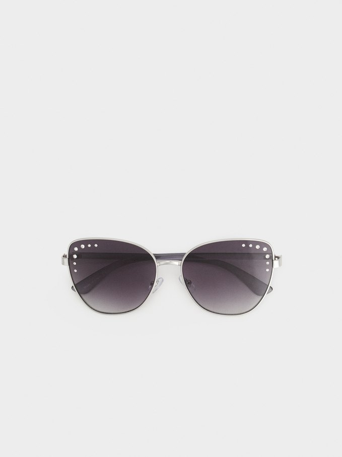 Cat Eye Sunglasses, Silver, hi-res