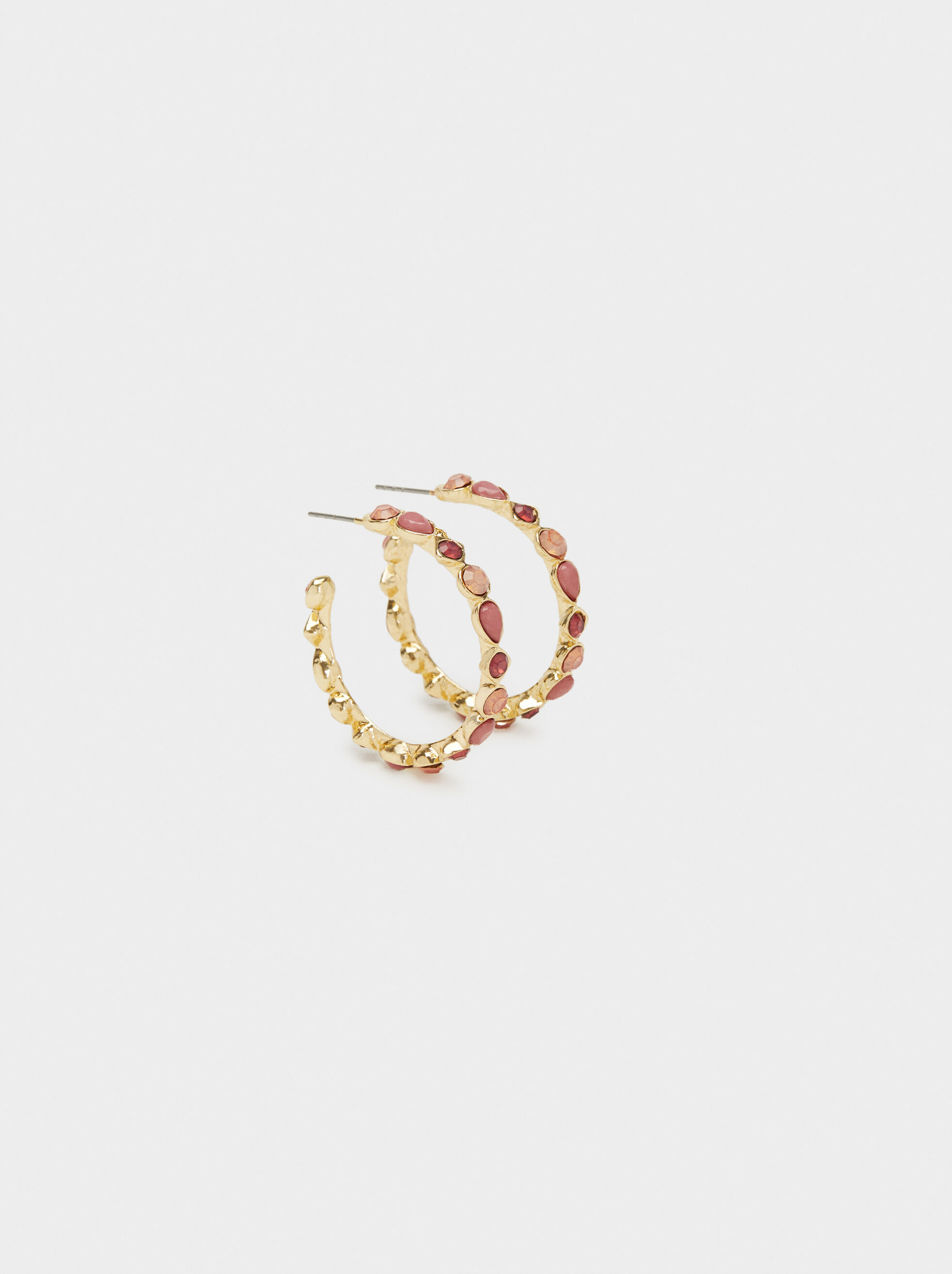 Petrified Medium Hoop Earrings, Multicolor, hi-res