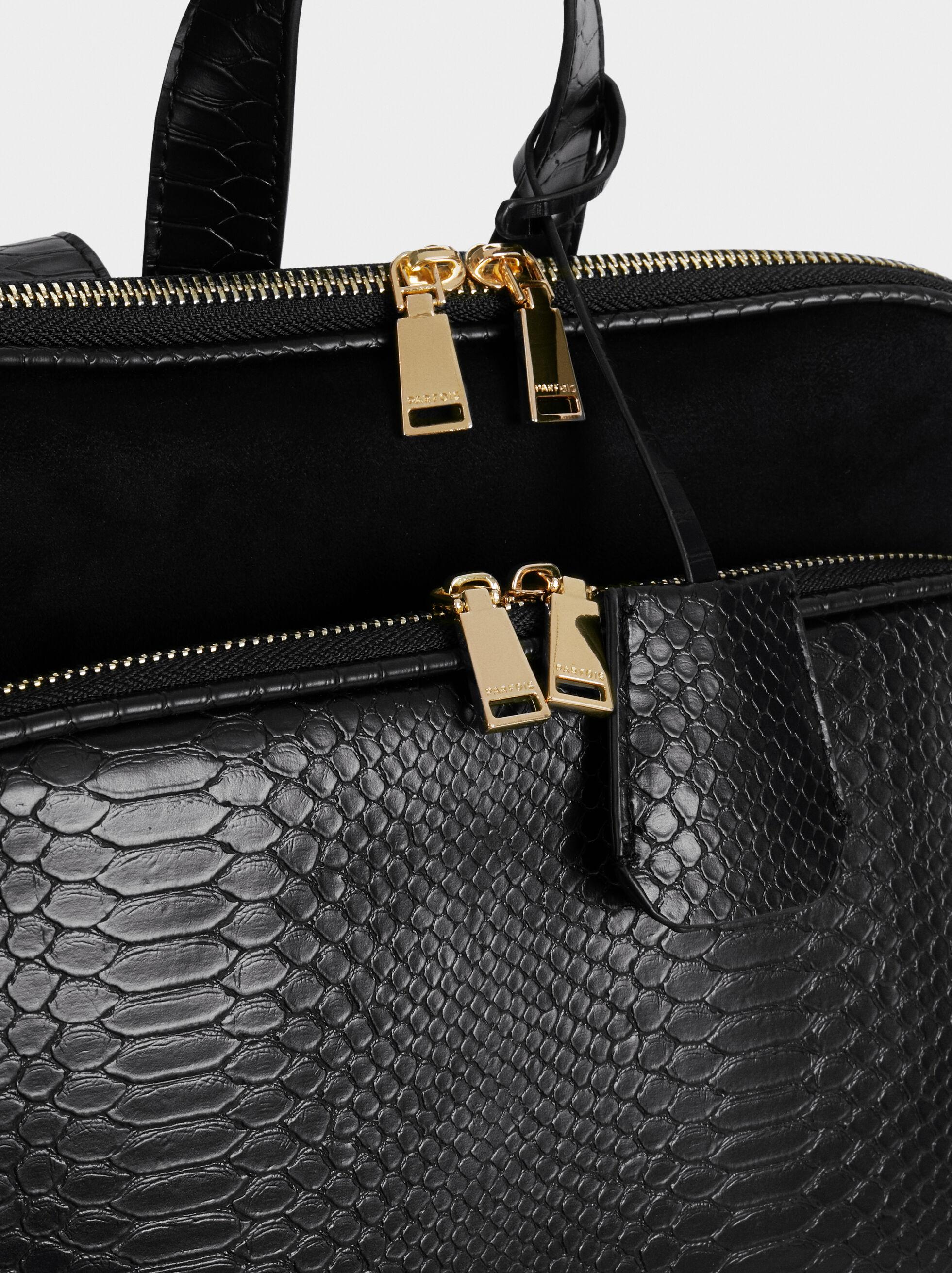 Embossed Faux Leather Backpack, Black, hi-res