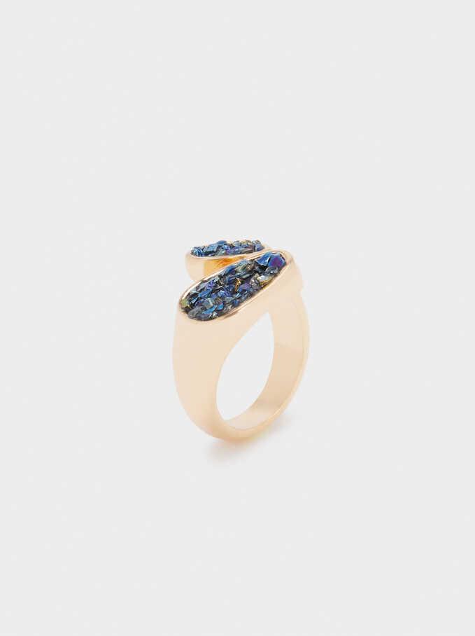 Anillo Espiral Con Cristales, Azul, hi-res
