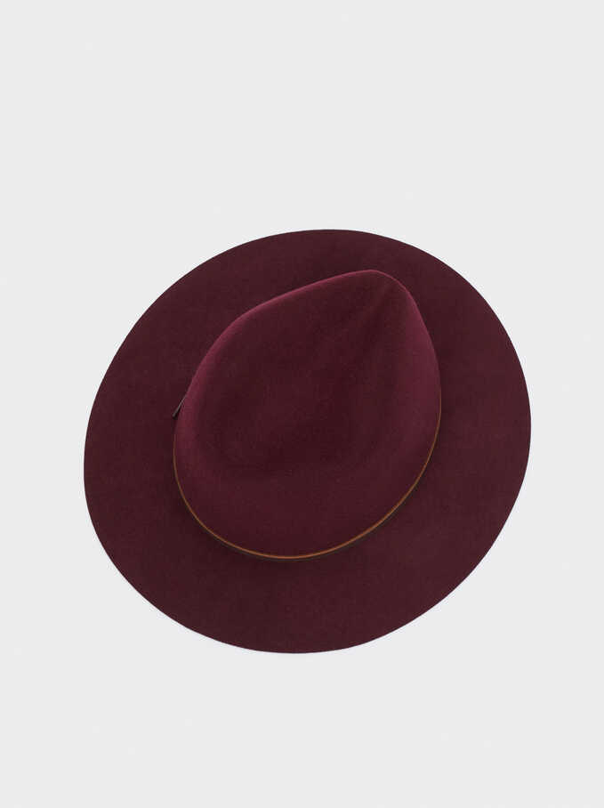 Woollen Hat With Contrast Band, Bordeaux, hi-res