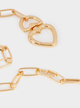 Short Chain Necklace With Gold-Toned Heart, Golden, hi-res