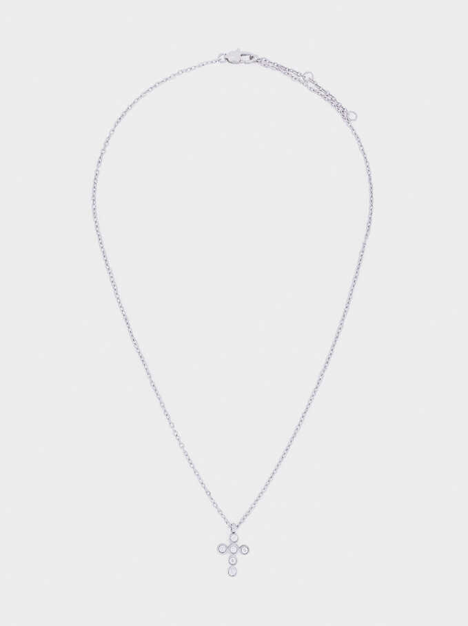 Short Steel Necklace With Cross, Silver, hi-res