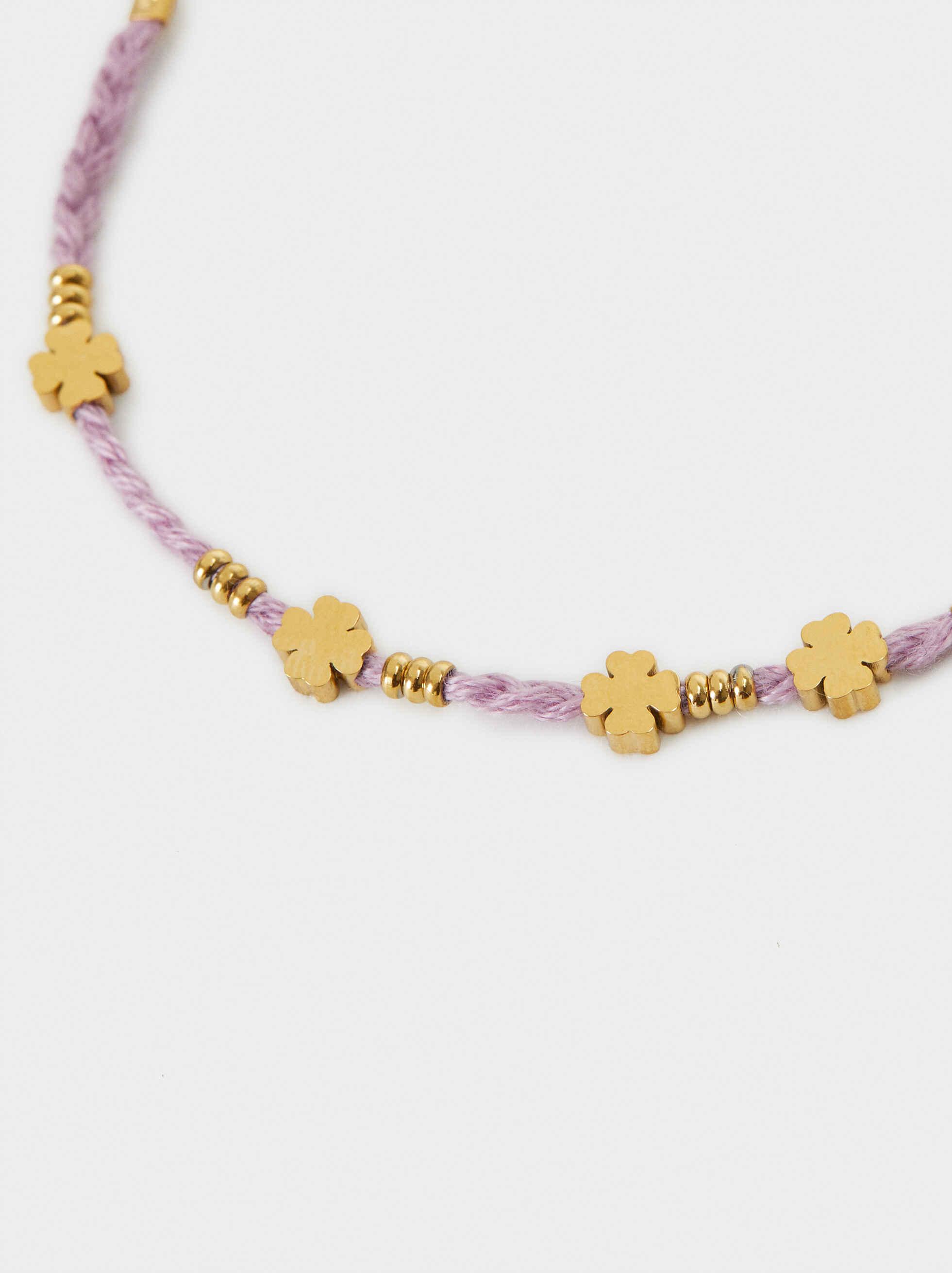 Stainless Steel Gold Adjustable Bracelet, Violet, hi-res