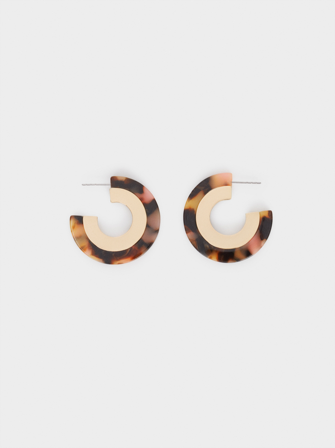 Hoop Earrings With Multicoloured Resin, Multicolor, hi-res
