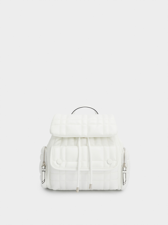 Quilted Backpack With Front Flap Closure, White, hi-res