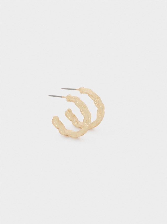 Small Woven Detail Hoop Earrings, Golden, hi-res