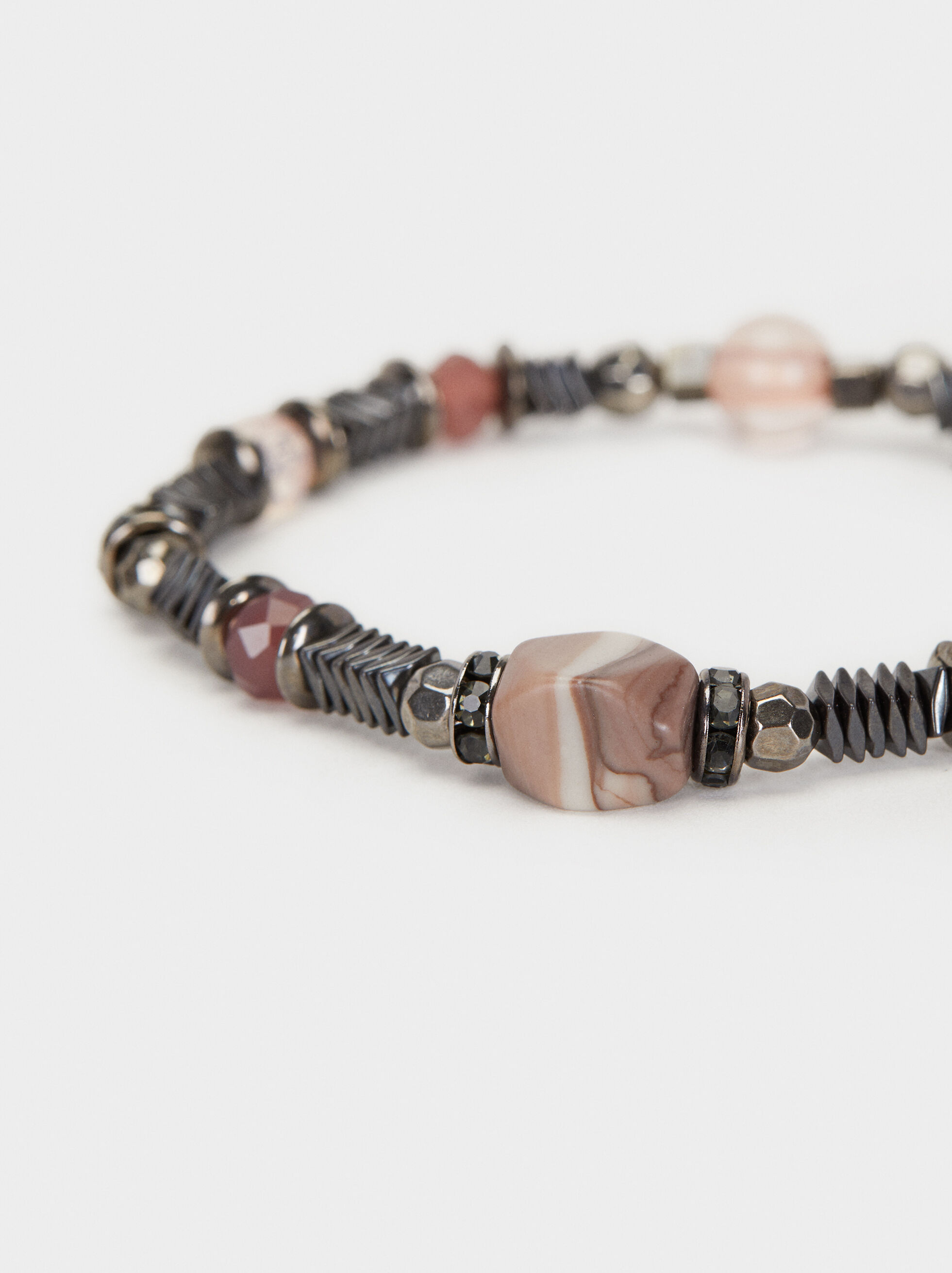 Cosmic Pink Elasticated Bracelet With Beads, Multicolor, hi-res