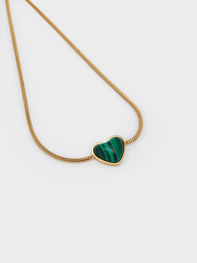 Adjustable Steel And Stone Bracelet With Heart, Green, hi-res